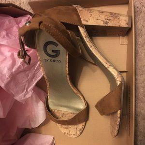 Guess brown cork heeled sandals